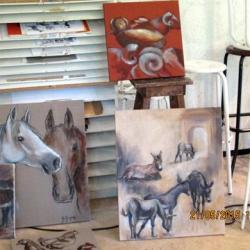 Ateliers successifs à la Bergerie pour préparer l'expo de fin mai 2015